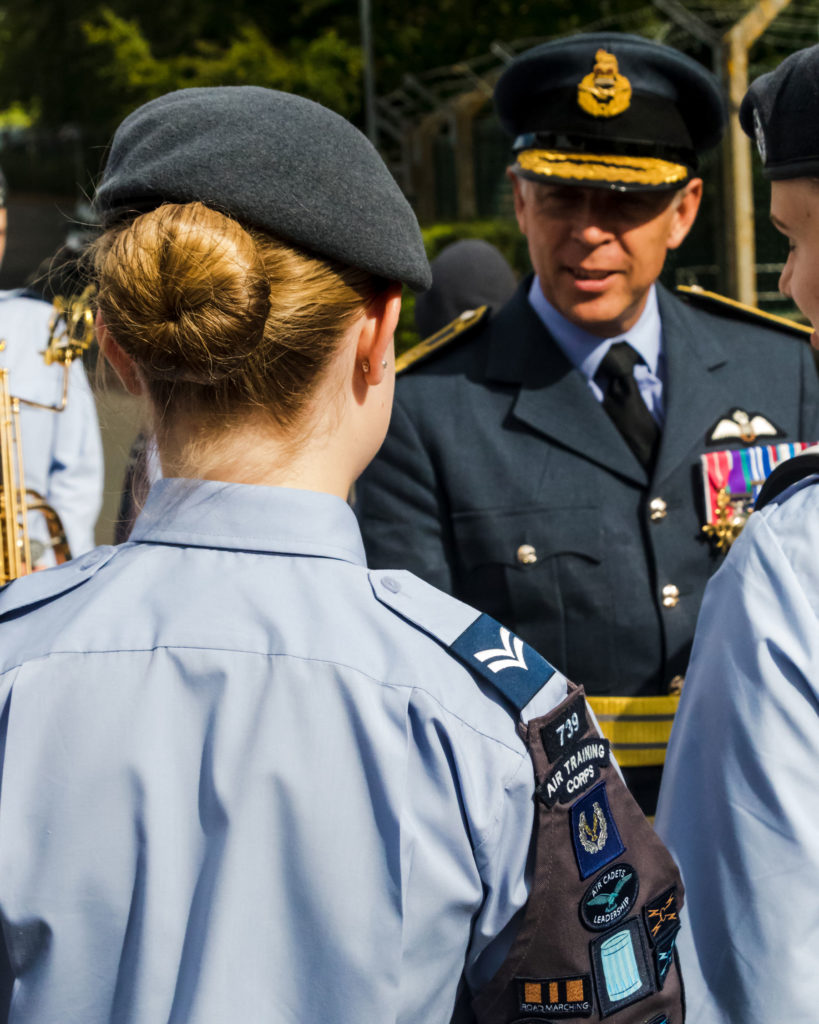Flight Lieutenant Steven Lewis RAFAC greets new recruits