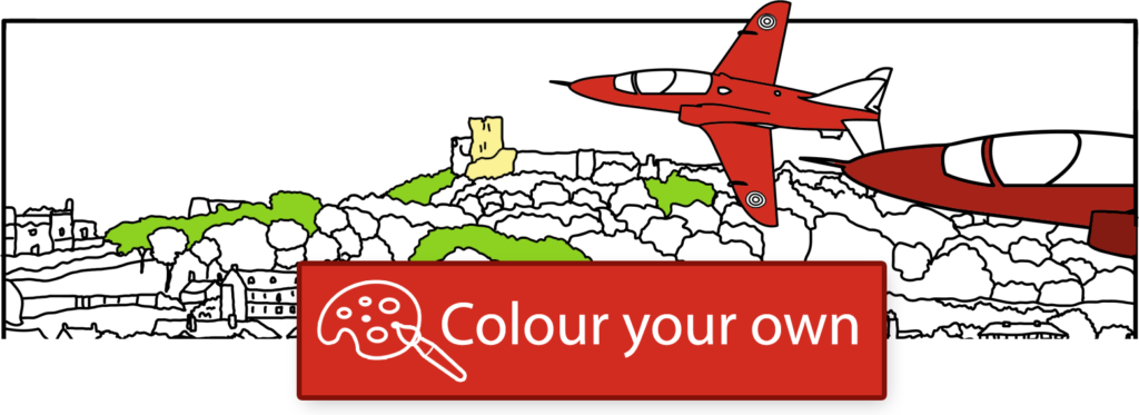 Colour your own Red Arrows fly-by picture.