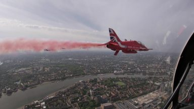 A view of London from the cockpit of a Red Arrow