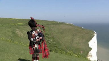 A piper on the Dover Cliffs