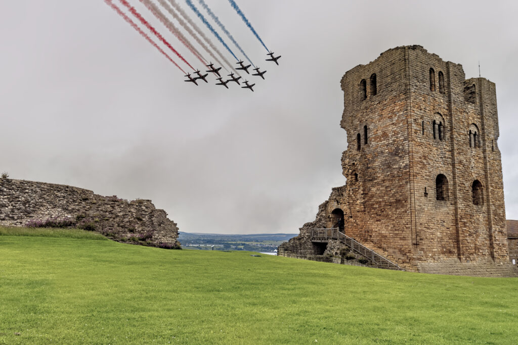 The Red Arrows fly over Scarborough Castle